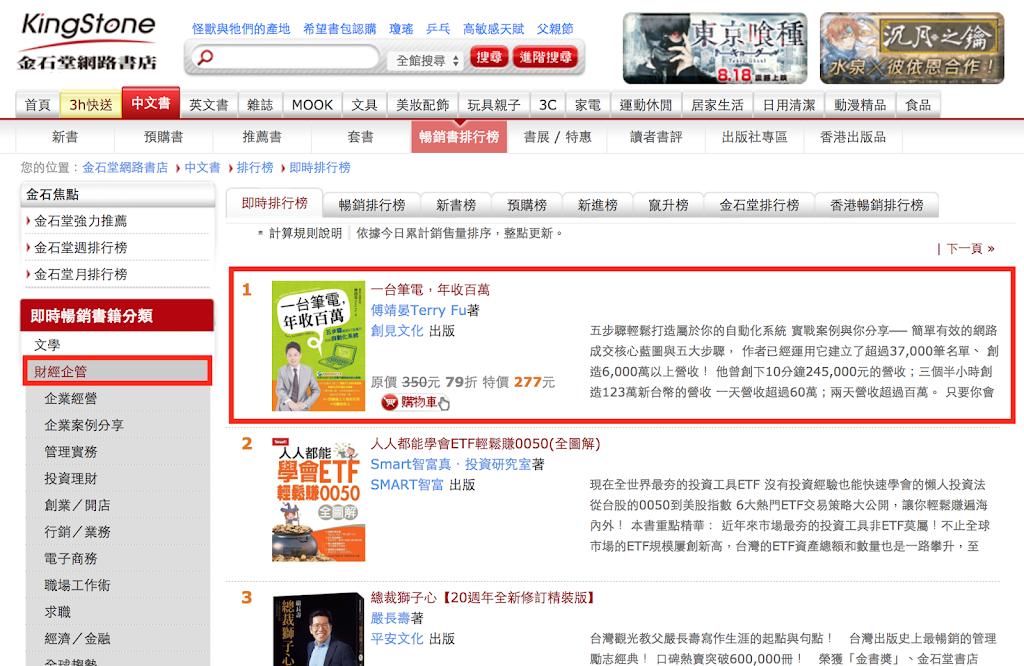 金石堂網路書店財經企管類暢銷即時榜第一名!