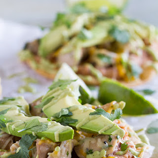 Chicken Tostadas with Poblano Cream Sauce