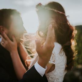 Touch by Marija Kranjcec - Wedding Bride & Groom ( sunlight, bride and groom, wedding )
