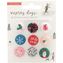 Crate Paper Adhesive Fabric Buttons 9/Pkg - Merry Days UTGÅENDE