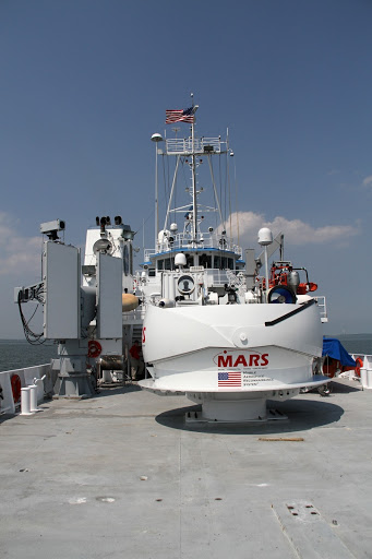 Aboard NASA's Freedom Star boat in the Atlantic Ocean off the coast of Port Canaveral in Florida is being tested.