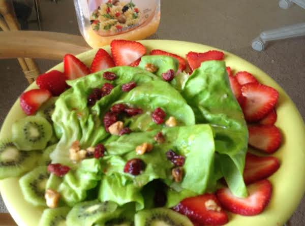 Strawberry, Kiwi Salad W/ Cranberries &  Walnuts Recipe
