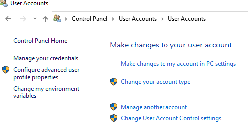 Navigate to user Accounts and then go to Make changes to my account.