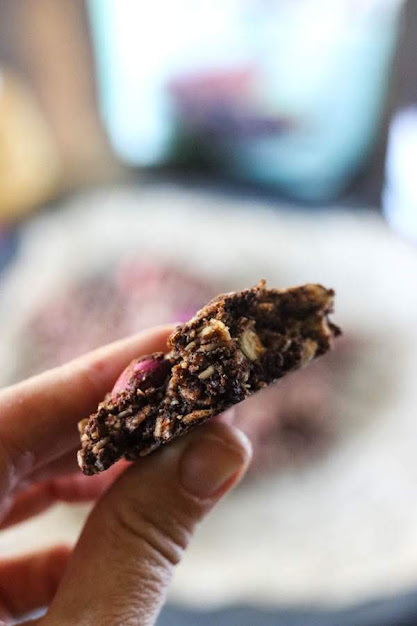 close up of hand holding a half eaten cookie