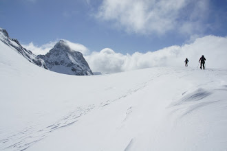 Photo: Finally on Haig Icefield.  Mt. Jellicoe makes an appearance on the left.