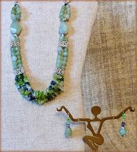 Photo: #174 TREASURE OF TETHYS ~ СКАРБИ БОГИНІ ТЕФІЇ Peridot crackle chips, jade, aventurine, silver plate $130/set SOLD