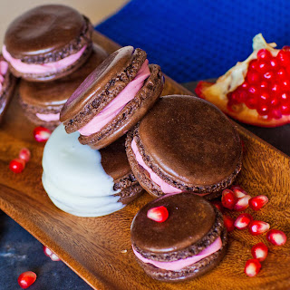 Chocolate Pomegranate Macarons.