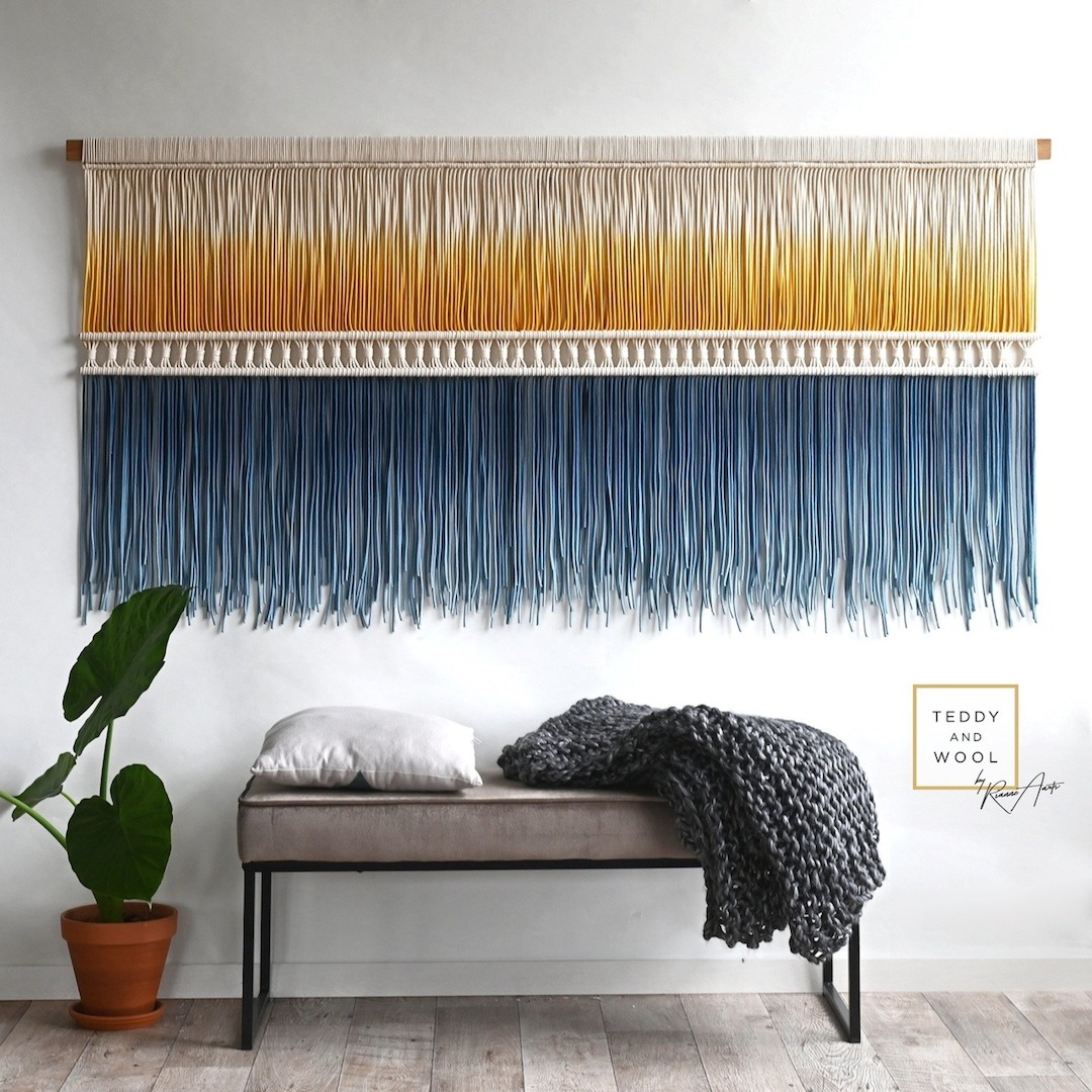 Add Texture to an Empty Wall with an Oversized Weaving large walll decor ideas