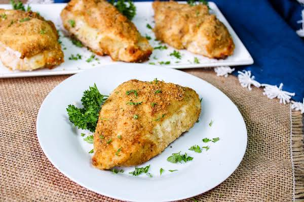 Cheesy Garlic Stuffed Chicken Ready To Be Served.