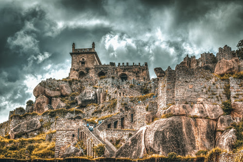 Golkonda fort  by Murthy Putrevu - Buildings & Architecture Statues & Monuments ( #hyderabad #fort #clouds #sky )