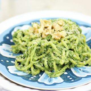 Fresh Spinach Pesto with Zucchini Noodles