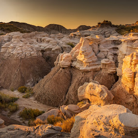 Toadstool Formations by Eric Wellman - Landscapes Caves & Formations ( park, sunset, rocks,  )