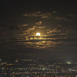 Manila Moonrise by Anton Labao - City,  Street & Park  Vistas
