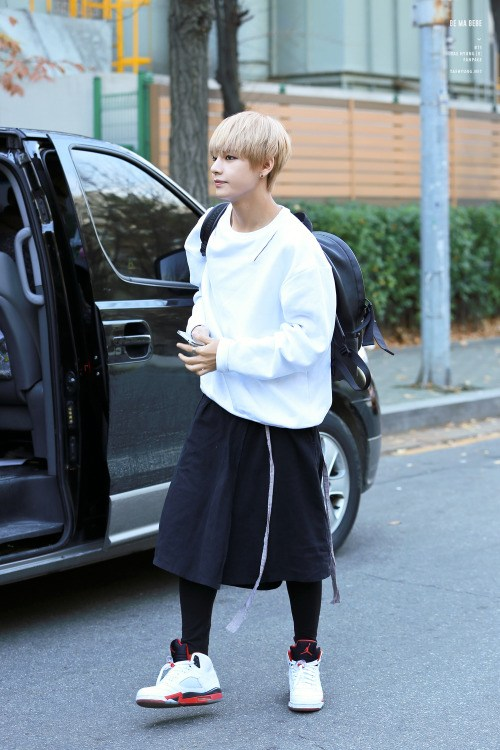 Taehyung wearing a skirt