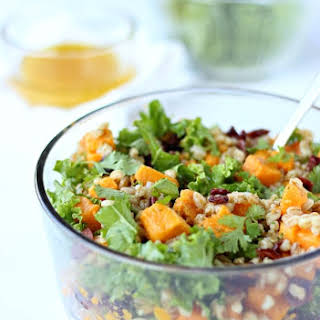 Sweet Potato Kale Salad with Citrus Vinaigrette Dressing.