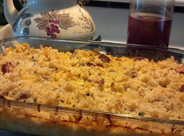 Baked Macaroni & Cheese W/ Smoked Sausage