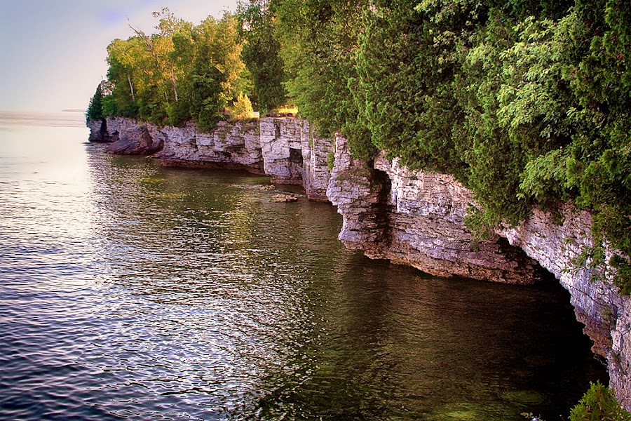 Cave Point Shoreline by Ron Meyers - Landscapes Waterscapes ( door county, cave point )
