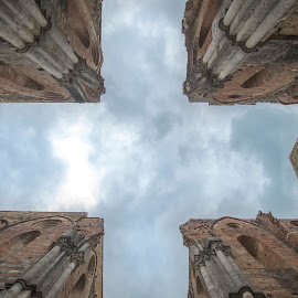 look up from the church  by Marjan Gresl - Buildings & Architecture Statues & Monuments ( roof, ruins, church, cross )