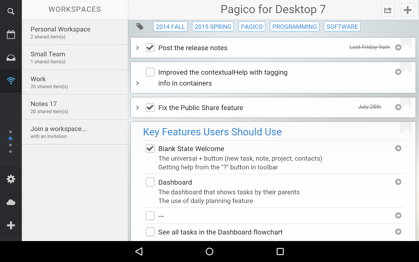 Pagico Plus- screenshot