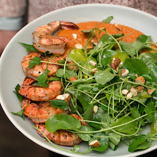 Grilled Prawns and Cress Salad.