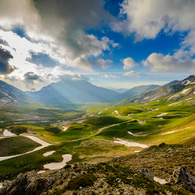 Light Explosion by Simone Angelucci - Landscapes Prairies, Meadows & Fields ( hill, campo imperatore, italia, gran sasso )