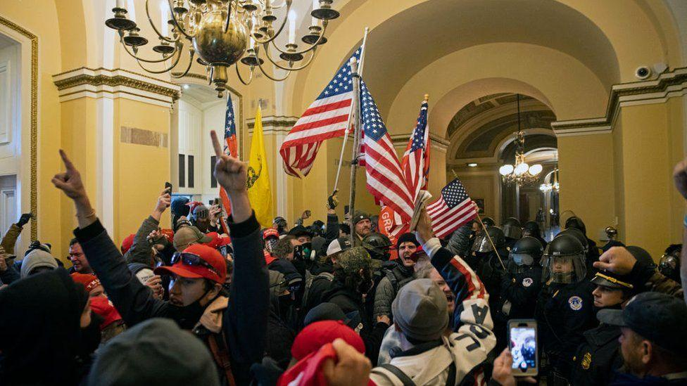 Supporters of Trump inside the US Capitol, 6 January 2021