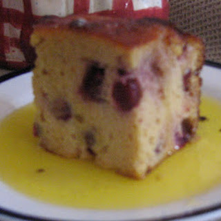 Cranberry Cake with Hot Butter Sauce