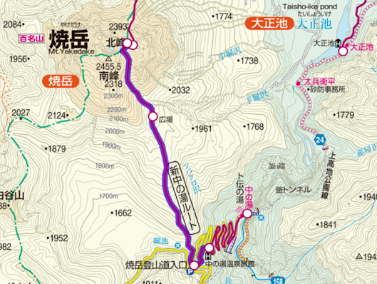 Mt. Yakedake The map of the climb