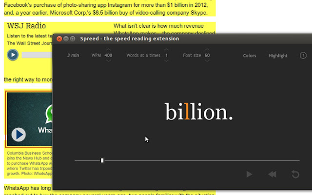 Spreed - speed read the web chrome extension