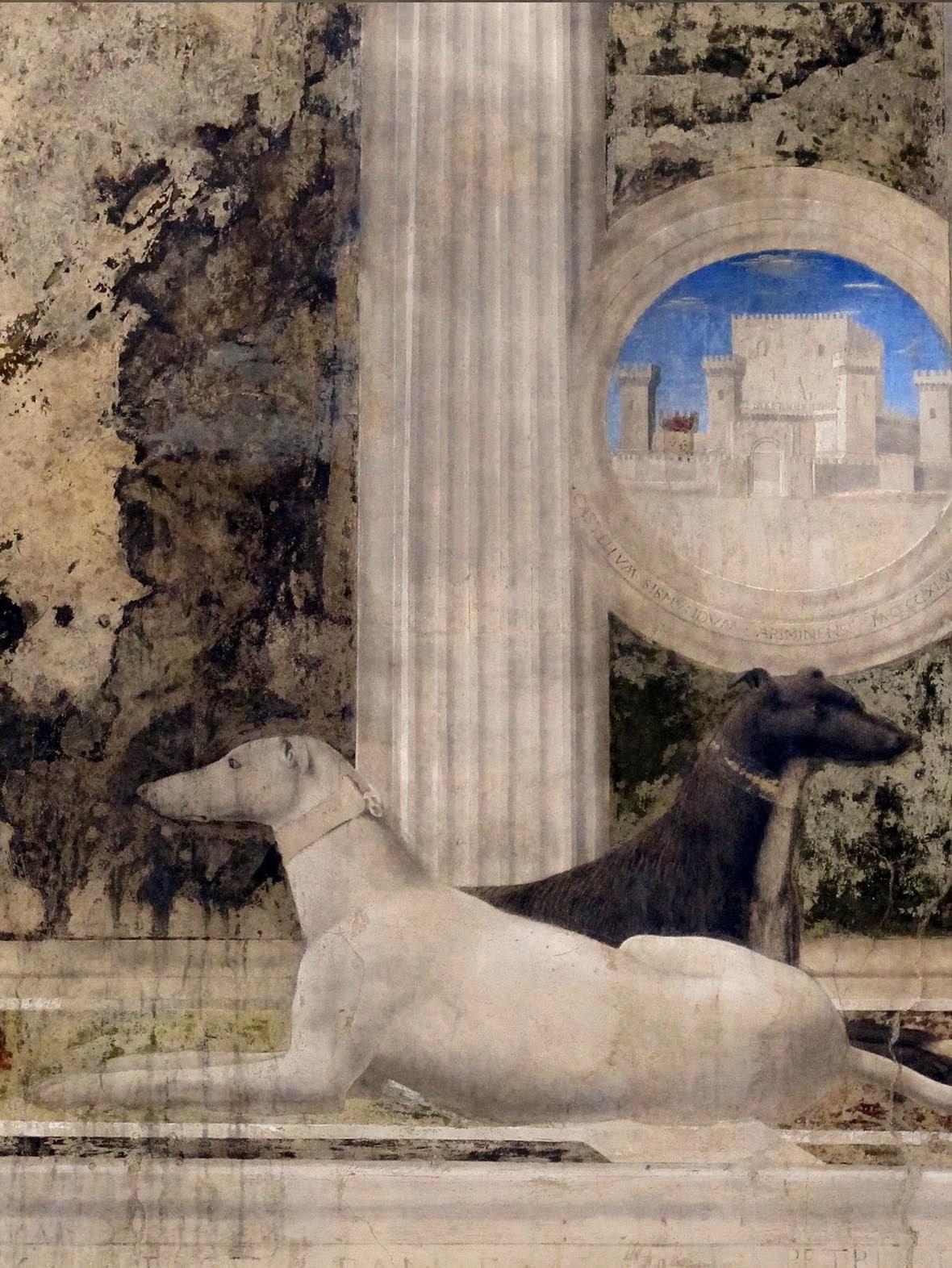 Piero della Francesca, Sigismondo Pandolfo Malatesta in preghiera davanti a san Sigismondo, 1451, cane di Sigismondo Pandolfo Malatesta e castel Sigismondo, Tempio Malatestiano, Rimini