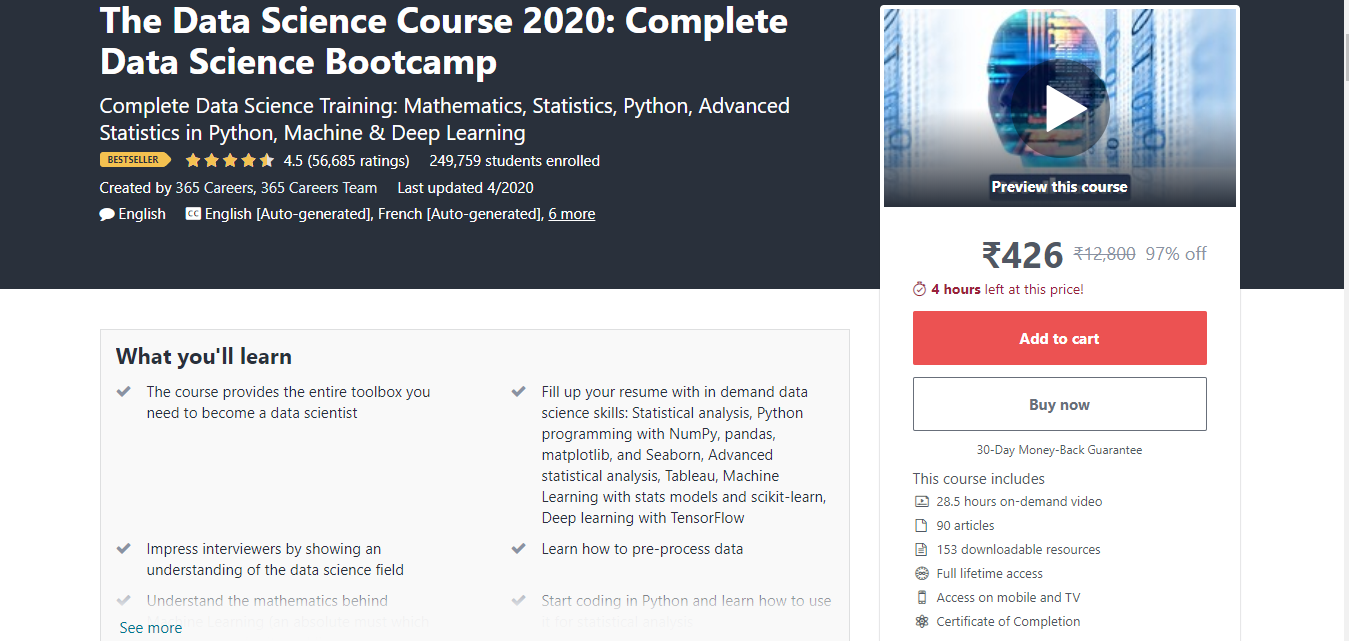 The Data Science Course 2020: Complete Data Science Bootcamp