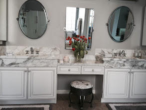 Photo: Kitchen Tune-Up remodels bathroom cabinets, too. These vanities were refaced in a snow white door with a charcoal glaze. Bathrooms can be updated in only 1 day. #bathroomdesign  #bathroomremodeling #cabinets