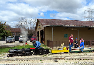 Photo: Pete Green adjusts the steaming on #400 while Andy Isles and his children talk with Donna Greene    HALS Chili Fest Meet 2014-0301 RPW