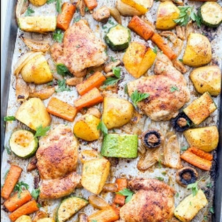 Baked One Pan Chicken Potatoes and Vegetables Recipe