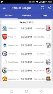 EPL 2017-18 Fixtures- screenshot thumbnail