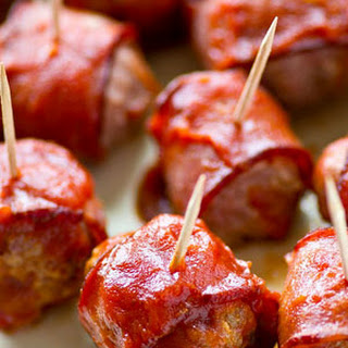 Crockpot BBQ Bacon-Wrapped Turkey Meatballs