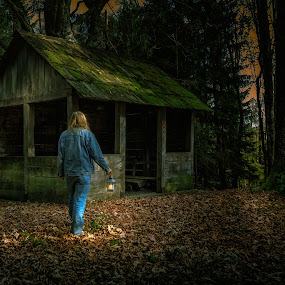 Exploring the mountain woods with a lamp by Dražen Škrinjarić - Landscapes Forests ( scary, explore, europe, mountain, twilight, sljeme, wooden house, croatia, zagreb, highlight, woods, medvednica, sky, cottage, hunjka, lamp, dark, moody, trees, fear )