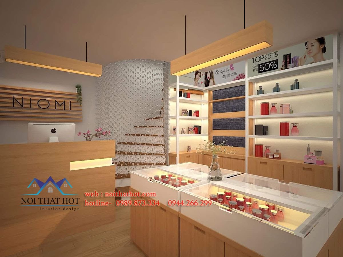 thiết kế shop mỹ phẩm lịch sự