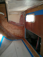 Photo: quarterberth ready for fiberglass tabbing