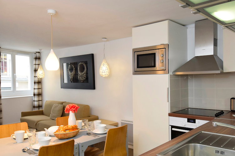 Dining space at 2 bedroom Apartment Near Les Halles