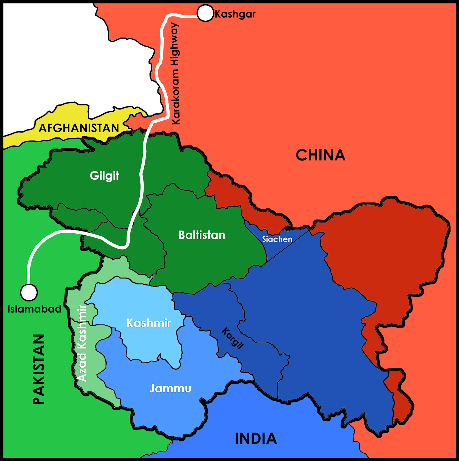 Map showing Karakoram Highway from China to Pakistan