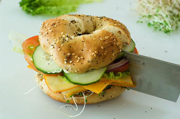 Veggie and Cheese Bagel Sandwich Recipe | Yummly