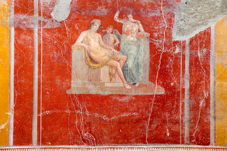 Fresco in the House with Garden, a new excavation in the Regio V of the Pompeii excavations.