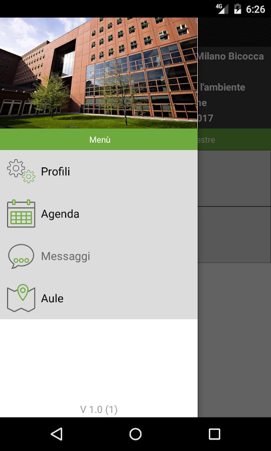 screenshot della app unimib course