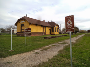 Photo: El Camino Hiking Trail marker, near old Floresville RR depot Lat. 29.14, Long. -98.16