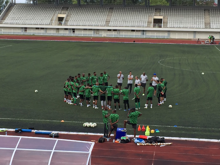 Bafana Bafana during their training session ahead of their second-leg Seychelles at 10 000-seater Stade Linite.