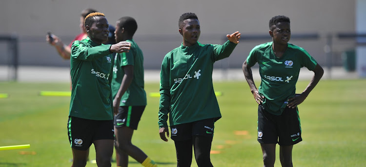 Noko Matlou, Bambanani Mbane and Lebohang Ramalepe during the South Africa Training on the 8 of May 2019 at University of Santa Clara, USA.
