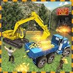 Gold Excavator Crane Driver 3D icon