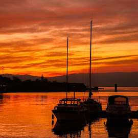 The sky is on fire by Goran Grudić - Transportation Boats ( sky, croatia, hrvatska, sunset, kraljevica, boats, kvarner, water, zaljev, sea, boat )