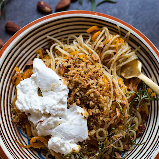 Butternut Squash Pasta with Brown Butter, Almond Breadcrumbs + Burrata.